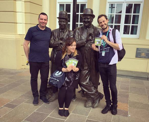 The LoyalFree team at the Laurel and Hardy Statue in Ulverston. Photo: LoyalFree 07/06/18